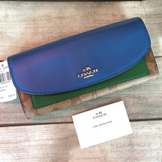 コーチ(COACH)のCOACH コーチ カラーブロック 長財布 グリーン ブルー 緑青 シグネチャー(財布)