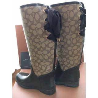 COACH - コーチ COACH リボン付レインブーツ 長靴