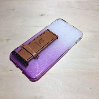 栃木レザー iphone7 グリップケース 紫グラデーション(iPhoneケース)