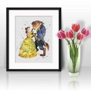 ディズニー(Disney)のベル&ビースト(美女と野獣)アートポスター【額縁つき・送料無料!】(ポスター)