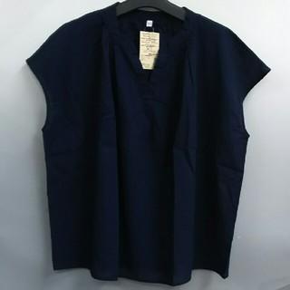 ムジルシリョウヒン(MUJI (無印良品))の新品 無印良品 オーガニックコットン楊柳 フレンチスリーブブラウス・ネイビー(Tシャツ(半袖/袖なし))