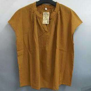 ムジルシリョウヒン(MUJI (無印良品))の新品 無印良品 オーガニックコットン楊柳 フレンチスリーブブラウス・マスタード(Tシャツ(半袖/袖なし))