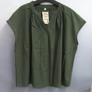ムジルシリョウヒン(MUJI (無印良品))の新品 無印良品 オーガニックコットン楊柳フレンチスリーブブラウス・リーフグリーン(Tシャツ(半袖/袖なし))