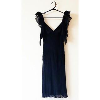 ジョルジオアルマーニ(Giorgio Armani)のGIORGIO ARMANIアルマーニコレクション ブラックワンピースドレス(ひざ丈ワンピース)