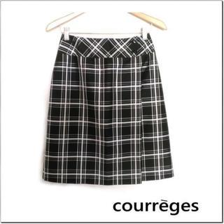 クレージュ(Courreges)のcourreges◆クレージュ◆黒白チェック柄膝丈セミフレア巻きスカート M(ひざ丈スカート)