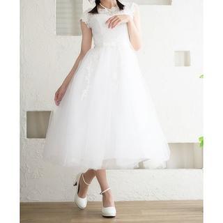 【美品】ミモレ丈ウェディングドレス XS 5-7号 編み上げ 二次会ドレス