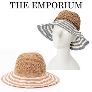 ジエンポリアム(THE EMPORIUM)のTHE EMPORIUMジ エンポリアム 編みブレードハット 麦わら帽子 ピンク(麦わら帽子/ストローハット)