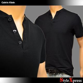 カルバンクライン(Calvin Klein)の新品 カルバンクライン 黒 XS S M 鹿の子 ヘンリーネックTシャツ(Tシャツ/カットソー(半袖/袖なし))