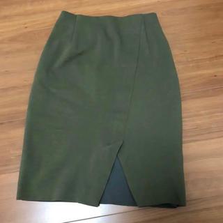 グリーンレーベルリラクシング(green label relaxing)のグリーンレーベルリラクシング  モナブル カーキ色膝丈スカート(ひざ丈スカート)