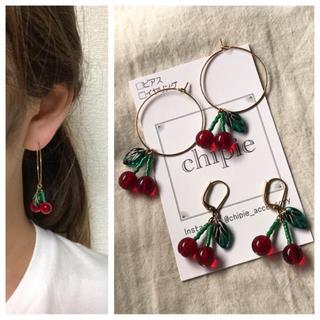 009 cherry hoop pierce(ピアス)