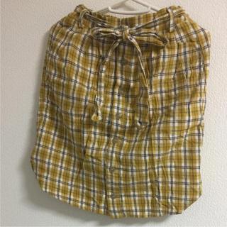 クリスプ(Crisp)のcrisp 黄色チェックタイトスカート(ひざ丈スカート)