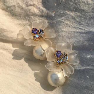 010 bijou flower 2way pierce(ピアス)