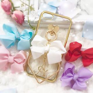 GoldMetal♡ペタルリボン×ハートフレーム×イニシャルチャーム♡(iPhoneケース)