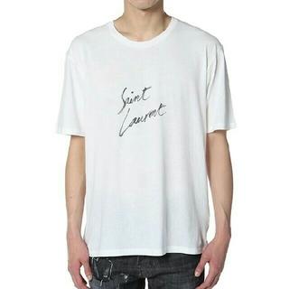 サンローラン(Saint Laurent)の[Saint Laurent ]ホワイトコットンロゴTシャツ(Tシャツ(半袖/袖なし))