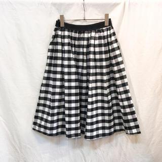 アウラアイラ(AULA AILA)のAULA AILA アウラアイラ チェックタフタフレアースカート ほぼ新品(ひざ丈スカート)