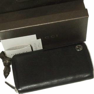 グッチ(Gucci)の正規 美品 グッチ 男女兼用 GG シェリー レザー ラウンドファスナー 長財布(財布)