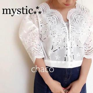 mystic - 人気⁂新品¥7020【mystic】レースブラウス レースカーディガンブラウス