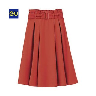 GU - ベルト付 スタイルアップ 美人スカート