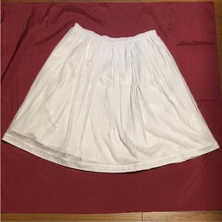 リフレクト(ReFLEcT)の【美品】リフレクト:フレアスカート ストライプ ホワイト(ひざ丈スカート)