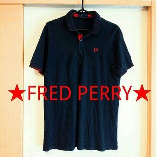 フレッドペリー(FRED PERRY)のフレッドペリー★ロゴ刺繍入り半袖ポロシャツ ネイビー×レッド Lサイズ(ポロシャツ)