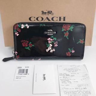 コーチ(COACH)のCOACH  レザー  長財布  ブラックフローラル/CW52(財布)