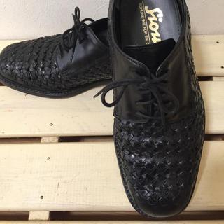 リーガル(REGAL)の本革メンズ 革靴 ビジネス 26.5cm 編み込みブラック(ドレス/ビジネス)