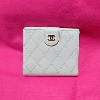 CHANEL - 美品正規品【シャネル】マトラッセ折り財布*白