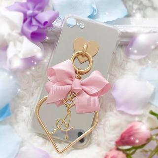 ミラーケース♡ペタルリボン×ハートフレーム×イニシャルチャーム♡(iPhoneケース)
