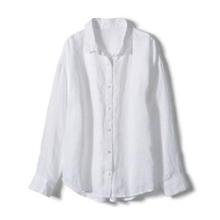 ジーユー(GU)のほぼ未使用 gu ジーユー フレンチリネンシャツ S ホワイト(シャツ)