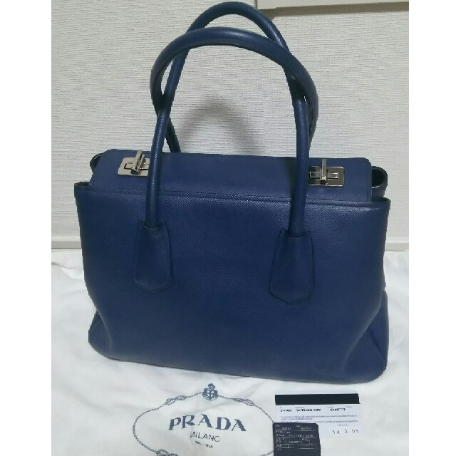 c56915fc1828 PRADA - ◇定価40万円◇レア☆PRADA ターンロック式バッグ ブルー プラダ ...