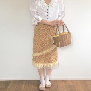 サンタモニカ(Santa Monica)のvintage used  flower レーススカート(ひざ丈スカート)