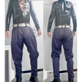 【中古】黒・厚手ポリエステルギャバン・2タックジョッパーズパンツ・w84・裾まで(スラックス)