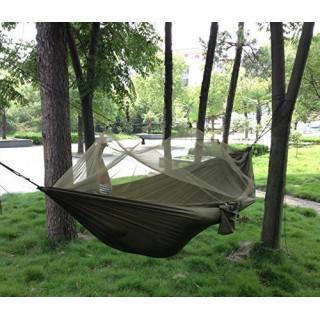 アウトドア キャンプ ハンモック 蚊帳付き ミリタリー(寝袋/寝具)