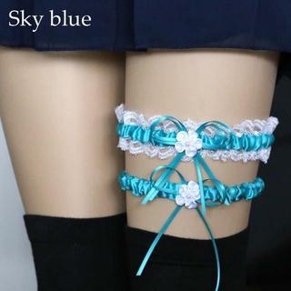 新品◆フラワーレースガーター ブルー(その他)
