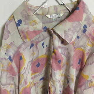 サンタモニカ(Santa Monica)のアンティークレトロ古着/淡いピンク模様bigブラウス(シャツ/ブラウス(長袖/七分))