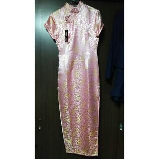 ボディライン(BODYLINE)の未使用タグ付・難有りロングチャイナドレス・パールピンク色(衣装)