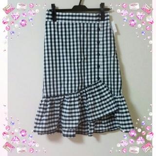 しまむら - 【新品】しまむら☆ギンガムチェック☆マーメイドスカート☆ブラック☆
