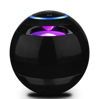 Bluetoothスピーカー 多色ライト付き 高音質 黒(スピーカー)