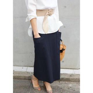 イエナ(IENA)のIENA R/W ビックポケット アシンメトリースカート 美品(ロングスカート)