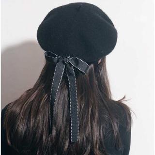 【新品】レディース  ベレー帽 帽子  ブラック 黒 リボン ロリータ(ハンチング/ベレー帽)
