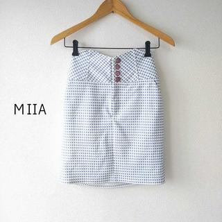 ミーア(MIIA)のミーア★ギンガムチェックハイウエストタイトスカート 水色×白 F 美スタイル◎(ミニスカート)