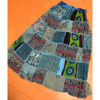 ゴア(goa)のインド綿パッチワークスカート(ロングスカート)