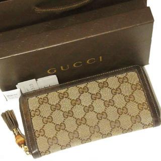 グッチ(Gucci)の正規 美品 グッチ GG バンブー タッセル ラウンドファスナー 長財布(財布)