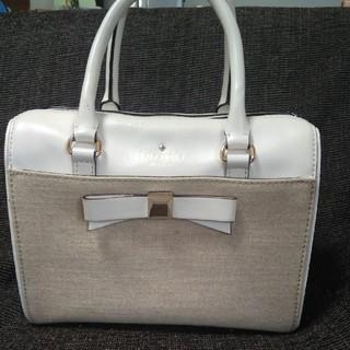 ケイトスペードニューヨーク(kate spade new york)のケイト・スペード 白×リネン(ハンドバッグ)