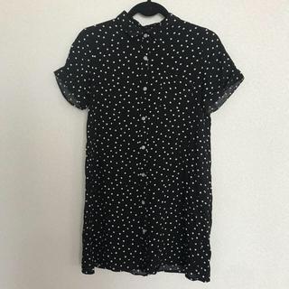 シマムラ(しまむら)の新品未使用 ドットロングシャツ(シャツ/ブラウス(半袖/袖なし))