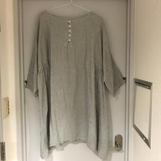 ネストローブ(nest Robe)のネストローブ  nest robe  リネン混サイドギャザーストライプワンピース(ひざ丈ワンピース)