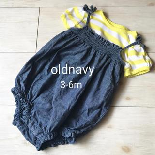 【美品】oldnavy ボーダーボディ×デニムキャミボディ 2点セット(ロンパース)