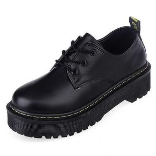 【ラスト1足!】☆厚底靴☆パンプス☆フラット☆ブラック,(ローファー/革靴)
