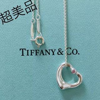 ティファニー(Tiffany & Co.)の♡tiffany♡ピンクサファイヤ付きオープンハートネックレス(ネックレス)