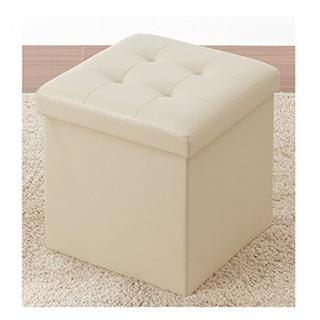 【収納・スツール・オットマン・椅子 】 収納スツール ホワイト/ベージュ(ケース/ボックス)